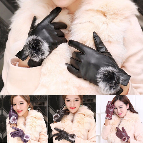 PU Leather Gloves with Faux Fur Pompom