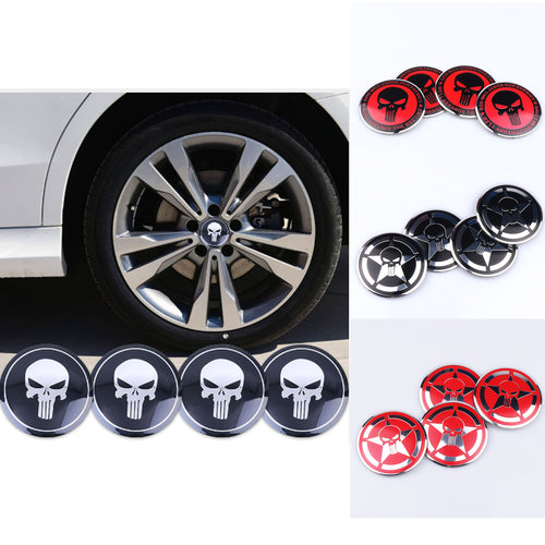 Punisher Wheel Center Cap Stickers - Set of 4