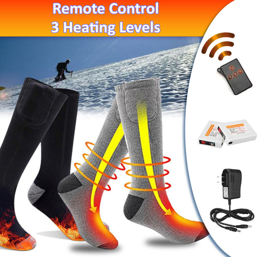 33% OFF - LIMITED TIME OFFER - Rechargeable Thermal Heated Socks with Remote Control - 3 Heating Levels