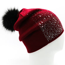 Women Rhinestones Beanie with Faux Fur Pompom