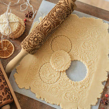 Snowflake Flourish Engraved Wooden Decorative Rolling Pin - 38cm
