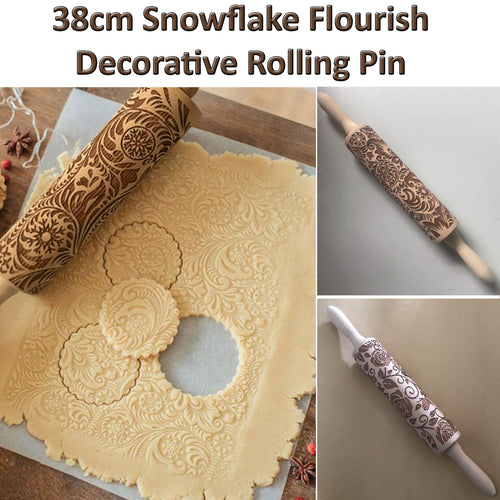 15% OFF - LIMITED TIME OFFER - Snowflake Flourish Engraved Wooden Decorative Rolling Pin - 38cm