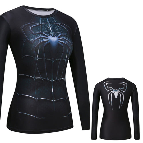 Spider-Man Women Fitness Compression Long Sleeve Shirt