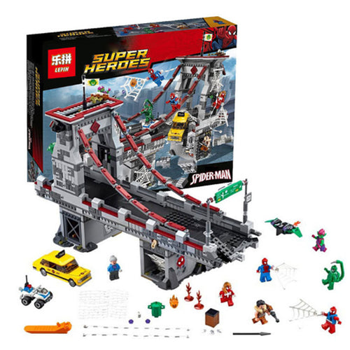 Spider-man LEPIN 07038 1165Pcs Web Warriors Bridge Battle Building Blocks