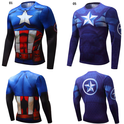 33% OFF LIMITED TIME OFFER - Captain America Long Sleeve Compression Shirt - 2 Models