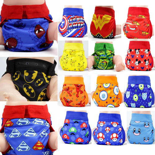 Superhero Adjustable Washable Cloth Diaper - 15 Models, 2 Sizes Available