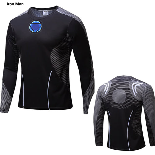 Superhero Iron Man Long Sleeve Compression Shirt