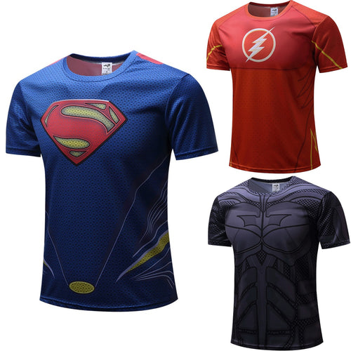 Superheros Fitness Compression Short Sleeve Shirt - Superman, Flash, Batman