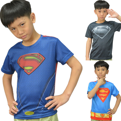 Kid's Superhero Fitness Compression Short Sleeve Shirt - Superman