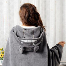 Totoro Hooded Fleece Shawl Cape