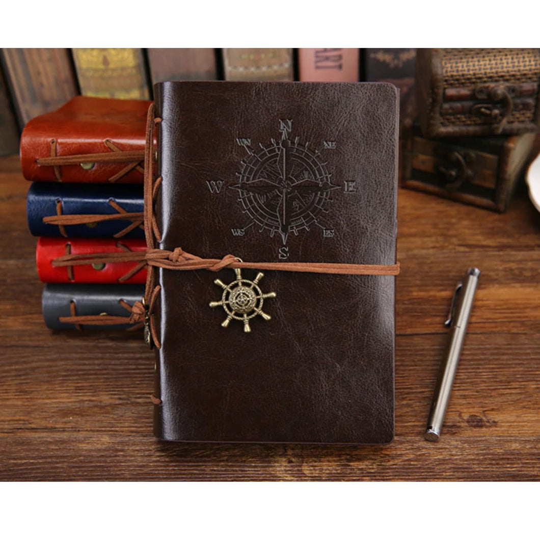 UP to 25% OFF - LIMITED TIME OFFER - Vintage Pirate Compass Rose Design PU Leather Refillable Notebook
