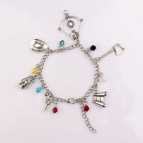 Walking Dead Charm Bracelet - Crossbow, Axe, Hat, Gun, Binoculars, Lamp