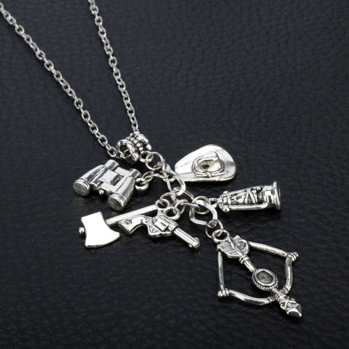 Walking Dead Necklace - Crossbow, Axe, Hat, Gun, Binoculars, Lamp