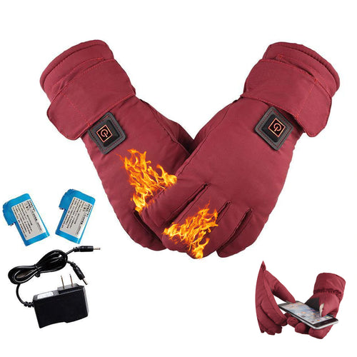 Women Waterproof and Touch Screen Heated Gloves - 3 Heating Levels