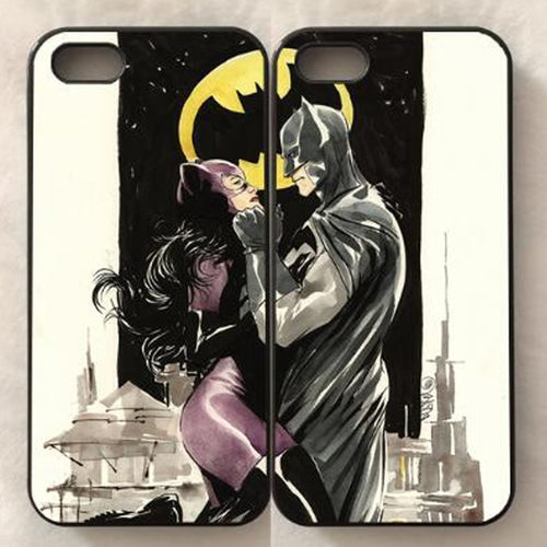 Batman/Catwoman Pair or Individual iPhone Cases - 5c, 5s, 6s, 6s+, 7, 7+, 8, 8+, X