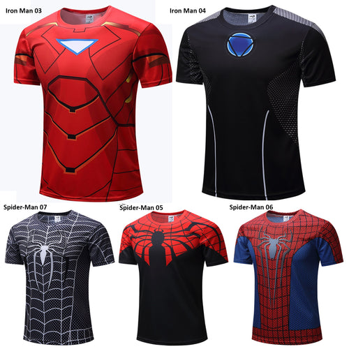 Superhero Short Sleeve Compression Shirt - 2 Iron Man & 3 Spider-Man Models