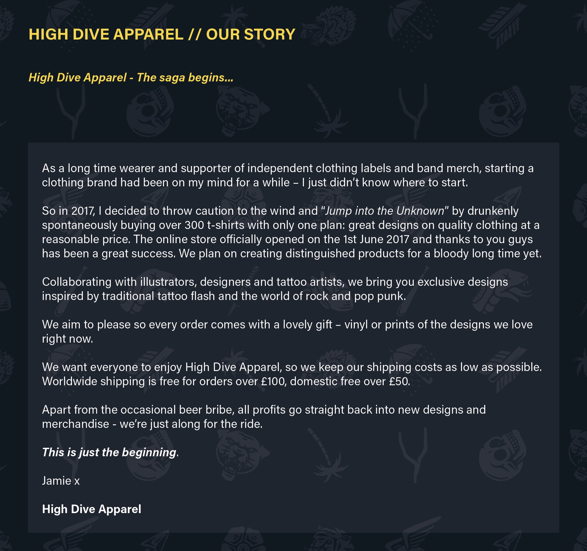 high dive apparel about us