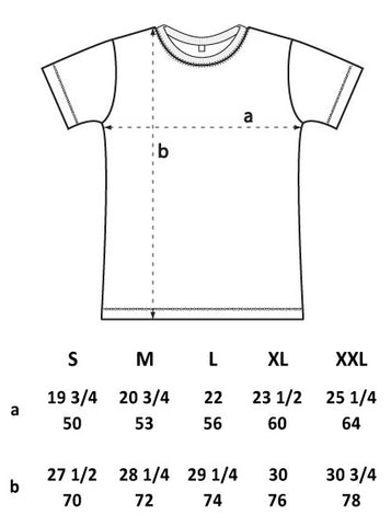 Size Guide for every tee except Panther and Death