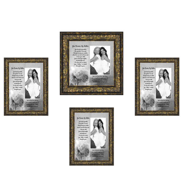 Picture Frame Set, 4 Piece Customizable Gallery Multi pack, 3-5x7, 1-8x8, for Tabletop or Wall Display