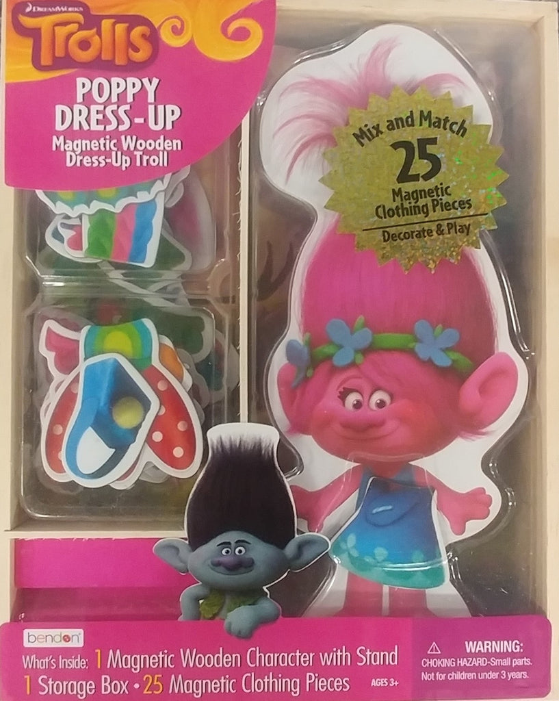 Bendon Trolls Poppy Dress-Up Magnetic Wooden Mix and Match Dress Up