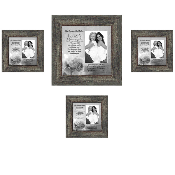 Picture Frame Set, 4 Piece Customizable Multi pack, 1-8x8, 3-4x4, for Instagram Photo Wall Gallery or Tabletop Display