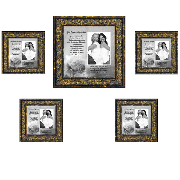 Picture Frame Set, 5 Piece Customizable Multi pack, 1-8x8, 4-4x4, for Instagram Photo Wall Gallery or Tabletop Display