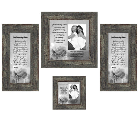 Picture Frame Set, 4 Piece Customizable Gallery Multi pack, 1-8x8, 1-4x4, 2-4x10, for Tabletop or Wall Display