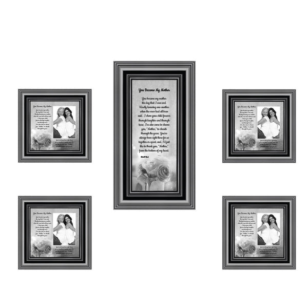 Picture Frame Set, 5 Piece Customizable Multi pack, 1-4x10, 4-4x4, for Instagram Photo Wall Gallery or Tabletop Display