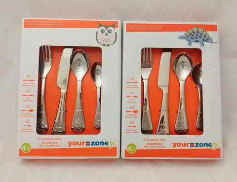 Your Zone Oneida Kids 4 Piece Owl Stainless Steel Flatware Set