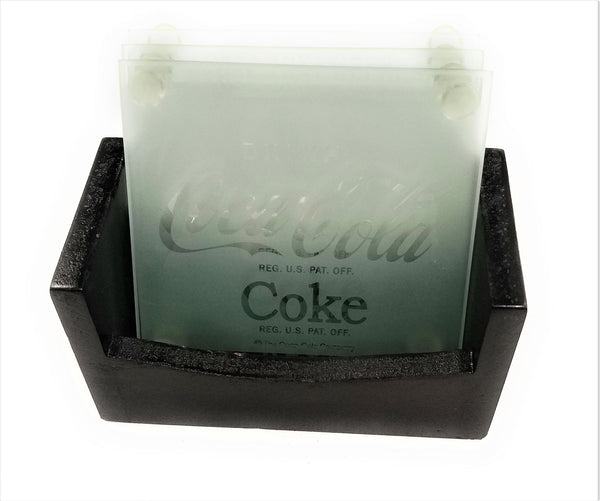 Coca-Cola 5 Piece Frosted Coke Coaster Set with Decorative Holder