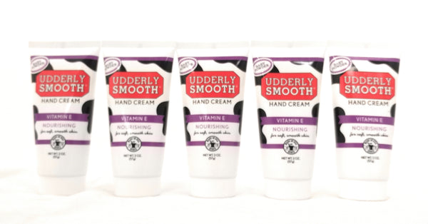 Udderly Smooth Nourishing Hand Cream With Vitamin E, Baby Powder Scent, 2 oz. Travel Size Lotion - 5 Pack