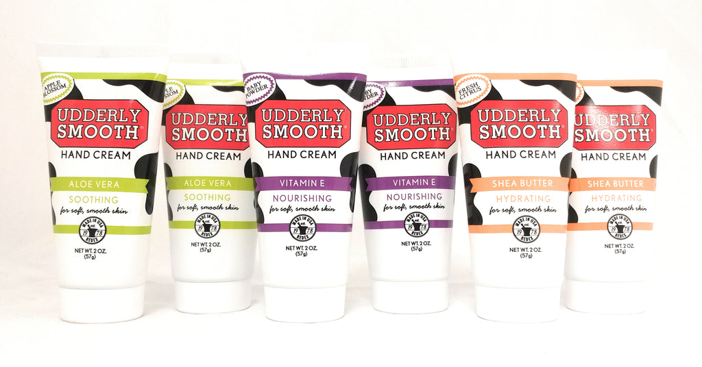 Udderly Smooth Hydrating Hand Cream Variety Pack (2 of each scent), 2 oz. Travel Size Lotion - 6 Pack