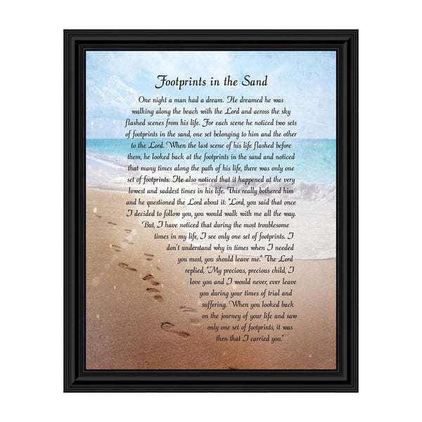 Footprints in the Sand Inspirational Wall Art, Beach Decor, Christian Gifts for Women and Men, Christian Wall Decor, Get Well Soon, Encouraging Scripture Wall Art, Framed Sympathy Gift 11x14, 2102