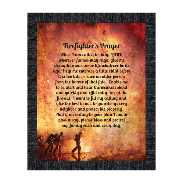 Firefighter Gifts for Men and Women, Fire Academy Graduation Gift, Fire Fighter Gifts or Firehouse Decor, A Fireman's Prayer Framed Wall Art for Home or Fire Station, 2104