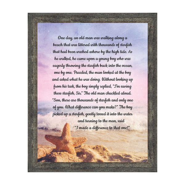 The Starfish Story Teacher Gift, The Legend of the Starfish Wall Decor, Thank You Gifts or Encouragement Gifts, Thinking of You Gifts, Add to Your Thank You Gift Basket, Framed Home Décor, 2106