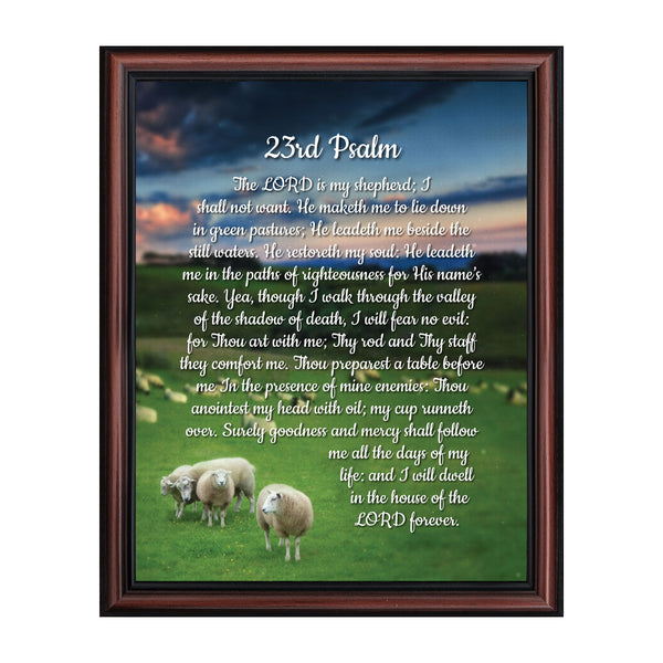 Psalm 23 Christian Wall Art, The Lord is My Shepherd Bible Verses Wall Decor, Christian Decorations for Home, Framed Christian Plaque with Comforting and Encouraging and Words, 2110