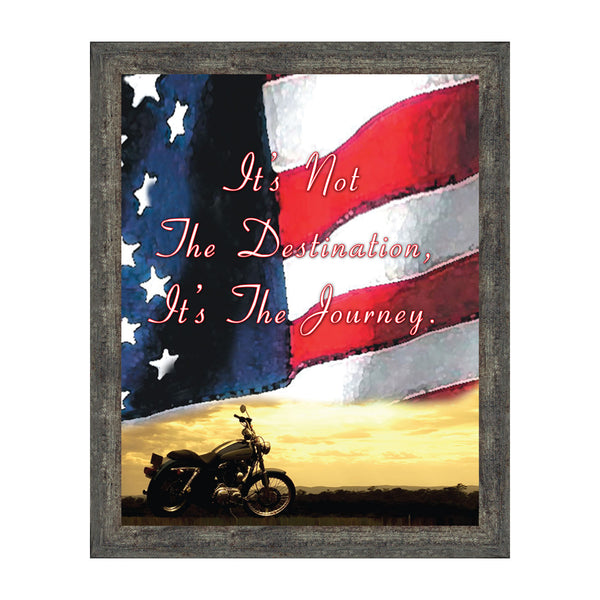 "Harley Davidson Gifts for Men and Women, Patriotic Harley Accessories, Harley Davidson Wedding Gifts, Sunset American Flag for Harley Riders, ""It's Not the Destination"" Unique Motorcycle Decor,  2122"