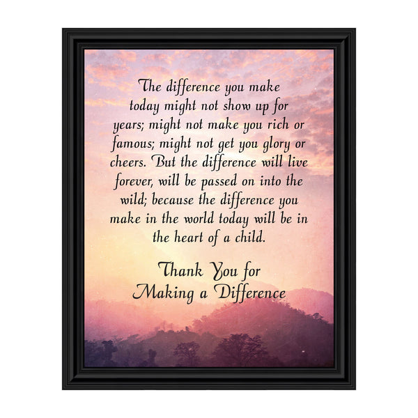 Teacher Gifts to Say Thank you, Principal Gifts or Daycare Teacher Gifts, You Make a Difference Quote Thanking Those Who Work with Children, Teacher Appreciation Gifts, 2180