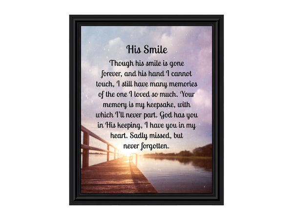 Sympathy Gifts for Loss of Husband, Memorial Gift, His Smile In Memory of Loved One, Picture Frames for Sympathy Gift Baskets, Bereavement Gifts for Loss of Father, Loss of Son Condolence Gift, 2182