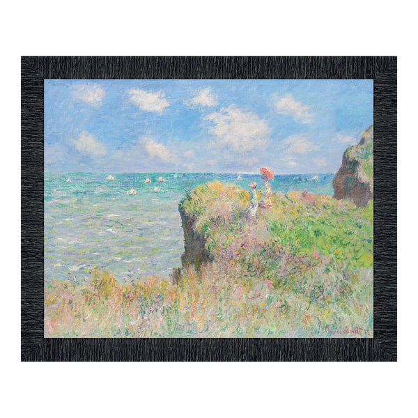 Cliff Walk by Claude Monet Framed Wall Art Print, Seaside Artwork in Impressionist Art Style, 11x14, 2413
