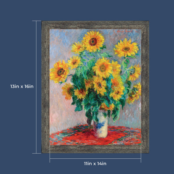 Bouquet of Sunflowers by Claude Monet Framed Wall Art Print, Excellent Kitchen or Living Room Wall Decor, 11x14, 2415