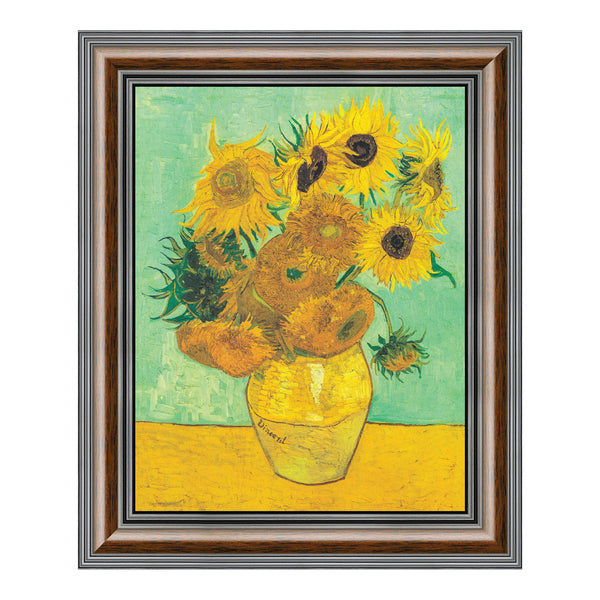 Twelve Sunflowers by Vincent Van Gogh, Framed Wall Art Print, Wonderful Addition to Home Decor, 11x14, 2435