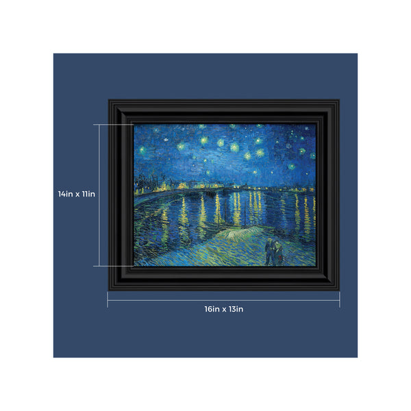 Starry Night Over the Rhone by Vincent Van Gogh Framed Wall Art Print for Living Room or Bedroom Home Decor, 11x14, 2439