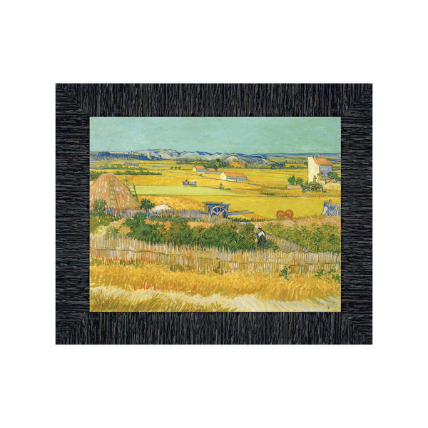 Harvest by Vincent Van Gogh Framed Wall Print, Embodies the Farm Harvest Experience, Splendid Kitchen, Office, or Living Room Decor, 11x14, 2442