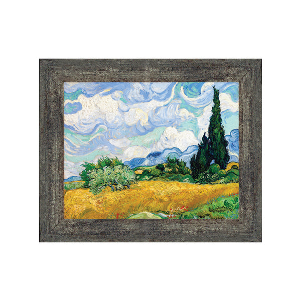 Wheat Fields with Cypresses by Vincent Van Gogh Framed Print Wall Art, 11x14 2448