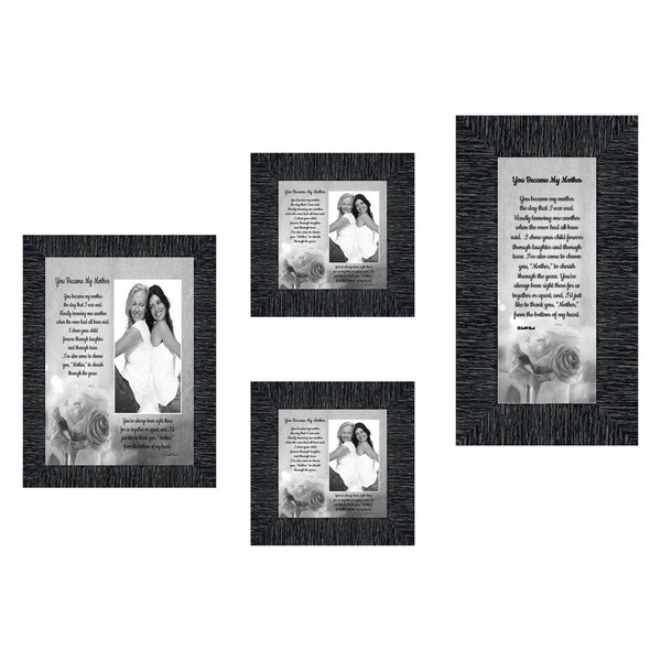 Picture Frame Set, 4 Piece Customizable Gallery Multi pack, 1-5x7, 1-4x10, 2-4x4, for Tabletop or Wall Display