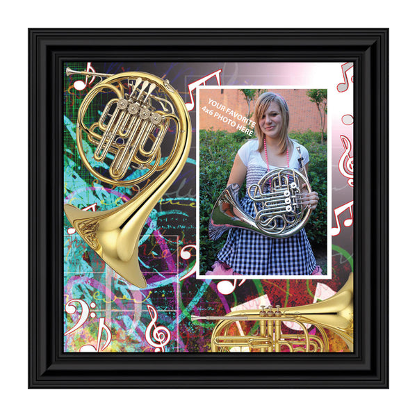French Horn, Marching Band French Horn Personalized Picture Frame, 10X10, 3510