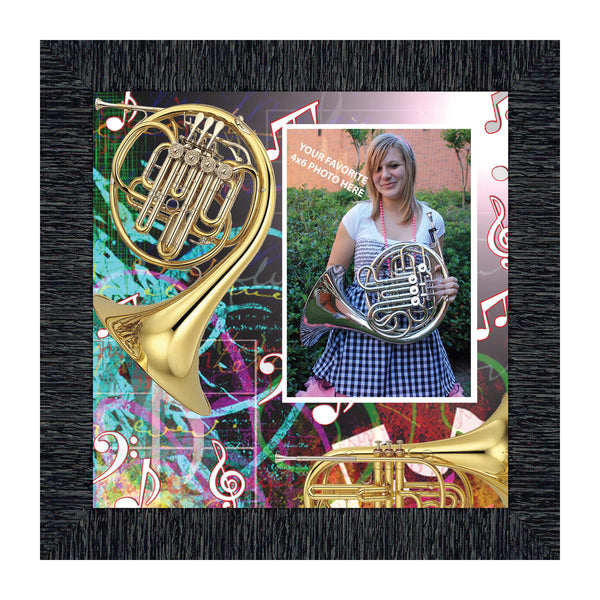 French Horn, Marching or Concert Band Personalized Picture Frame, 10X10, 3510