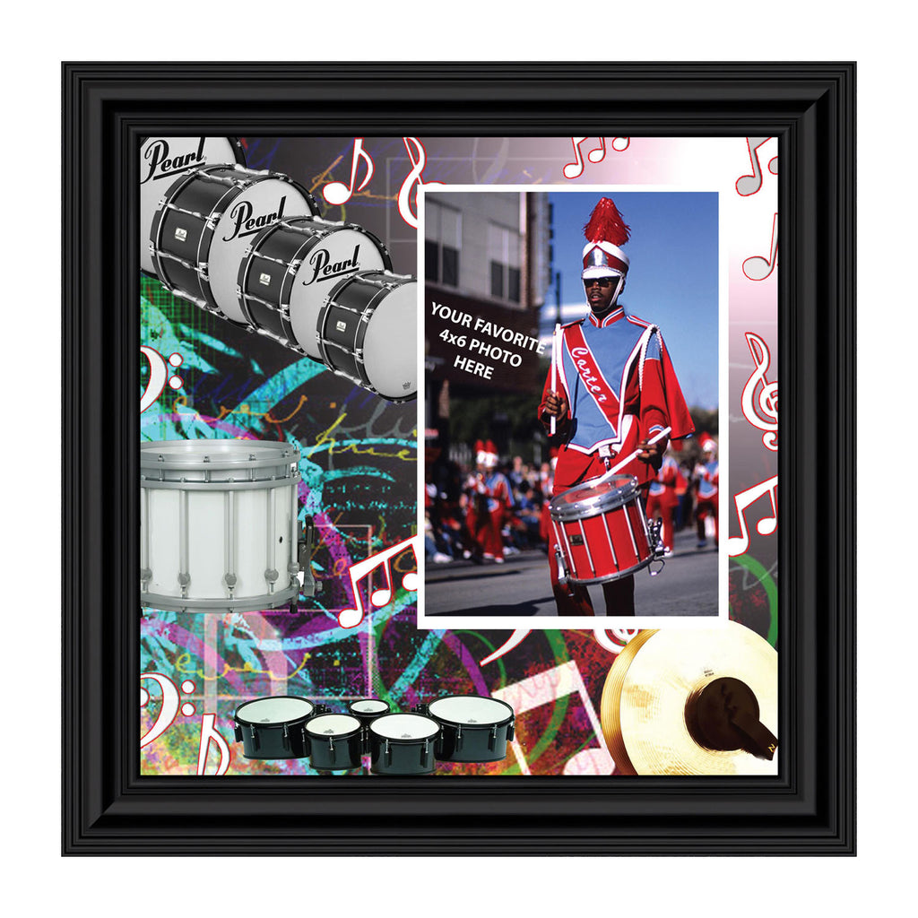 Percussion and Drum Line, Marching or Concert Band Personalized Picture Frame, 10x10 3512
