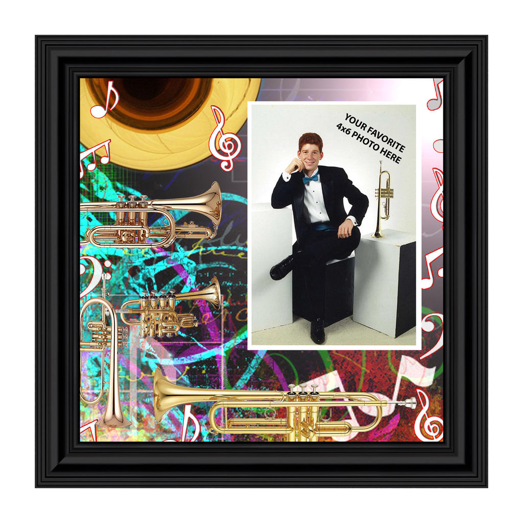 Trumpet, Marching Band Trumpet Personalized Picture Frame, 10X10 3514